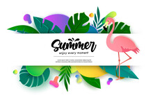 Summer Vector Banner Template Design. Summer Enjoy Every Moment Text In Empty White Space With Flamingo And Nature Plant Leaves Element For Tropical Season Decoration. Vector Illustration