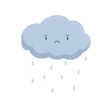 Cute Cloud With Sad Face And Falling Rain Drops. Rainy Weather Icon With Raindrops. Funny Baby Character. Childish Colored Flat Vector Illustration Isolated On White Background