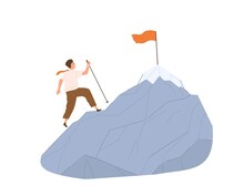 Concept Of Achieving Goals, Challenges, Opportunities And Personal Growth. Man Climbing Mountain With Flag On Top On His Way To Success. Colored Flat Vector Illustration Isolated On White Background