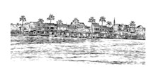 Building View With Landmark Of Hoi An Is A City On Vietnam. Hand Drawn Sketch Illustration In Vector.