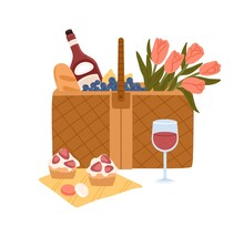 Picnic Basket With Delicious Food For Outdoor Romantic Dinner Bottle Of Wine, Wineglass, Baguette, Cakes And Bouquet Of Flowers. Colorful Flat Vector Illustration Isolated On White Background