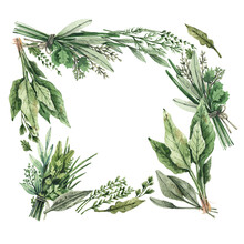 Watercolor Illustration - Square Frame, Herbs And Bunches Of Greens, Spinach, Onion, Sage, Rosemary, Parsley. Hand-drawn Template For Menu, Pharmacy, Flyer, Postcard. Green Fresh Natural Herbs