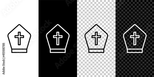 Fotografia Set line Pope hat icon isolated on black and white,transparent background