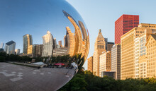 Cloud Gate (The Bean) At Millennium Park With Chicago Skyline In The Background Daylight View.