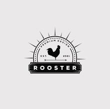 Vintage Rooster Farm Chicken Logo Vector Illustration Design