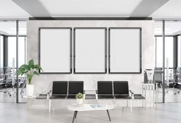 Three vertical frames Mockup hanging in office waiting room. Mock up of billboards in modern concrete interior 3D rendering