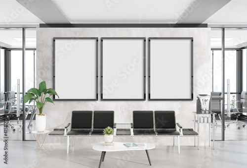 Obraz Three vertical frames Mockup hanging in office waiting room. Mock up of billboards in modern concrete interior 3D rendering - fototapety do salonu