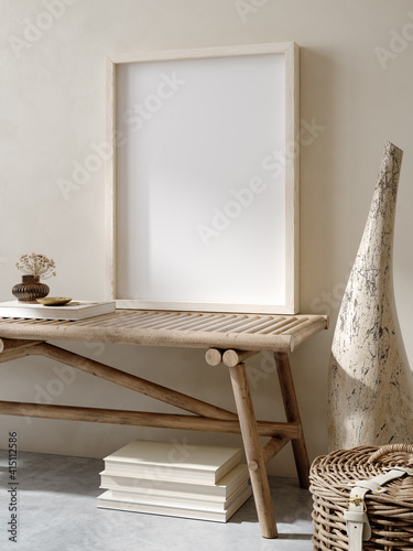 Photographie Mock up frame in home interior background, nomadic living room with bench and de