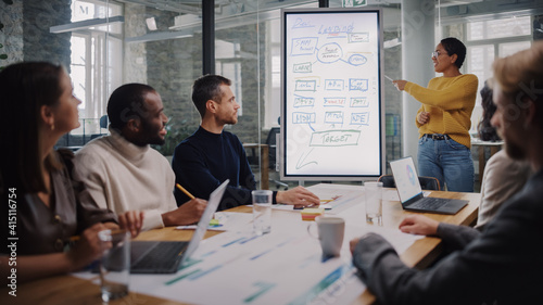 Project Manager Makes a Presentation for a Young Diverse Creative Team in Meeting Room in an Agency. Colleagues Sit Behind Conference Table and Discuss Business Development, User Interface and Design.