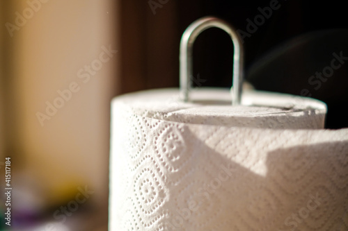 Obraz Close up on a roll of kitcen paper towels. Selective focus - fototapety do salonu