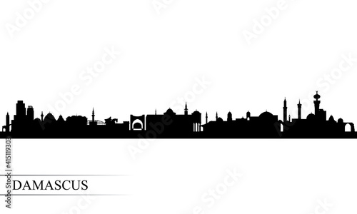 Fotografia Damascus city skyline silhouette background