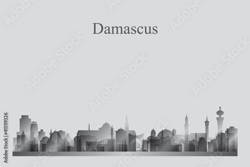 Tela Damascus city skyline silhouette in a grayscale
