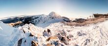 Chopok In Low Tatras National Park With Mountain Hut And Jasna Ski Resort Cableway Station In Winter. Liptov Region. Demenovska Walley.