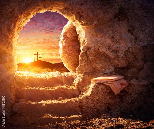 Fototapeta Empty Tomb With Crucifixion At Sunrise - Resurrection Concept obraz
