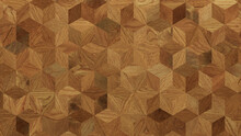 Wood Texture Background. Parquet Wallpaper With A Light And Dark Timber Diamond Tile Pattern.