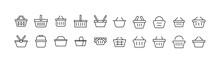 Linear Icon Set Of Shop Basket.
