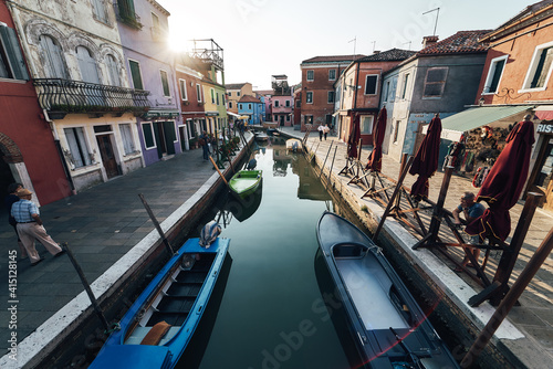 Bright colorful houses and buildings in Burano - streets of venice