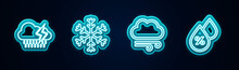 Set Line Cloud With Rain And Lightning, Snowflake, Windy Weather And Water Drop Percentage. Glowing Neon Icon. Vector.