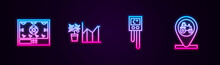 Set Line Smart Farming Technology, Flower Statistics, Temperature And Humidity Sensor And Tractor Location. Glowing Neon Icon. Vector.