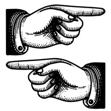 Victorian Point Finger Hand Vintage Icons