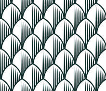 Dragon Scales. Black And White Seamless Pattern, Geometric Background, Scales, Dragon
