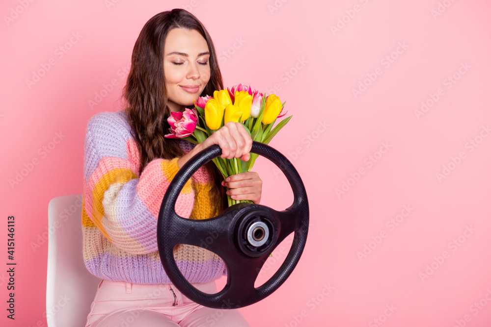 Fototapeta Portrait of pretty dreamy girl holding in hands smelling tulips driving invisible car fast delivering isolated over pink pastel color background