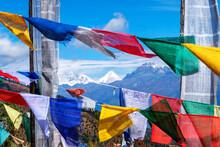 Buddhist Prayer Flags At Chelela Pass Against Snowcapped Himalayas, Bhutan