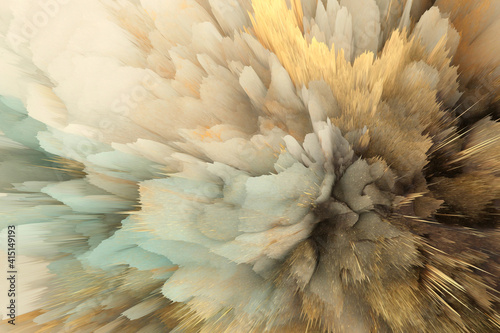 Fototapeta 3D digital Illustration. Color rainbow blot splash. Abstract horizontal background. obraz