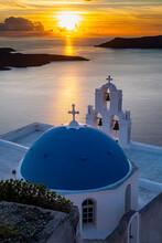 Sunset Over The Volcanic Islands Of Santorini And Anastasi Orthodox Church At Sunset, Fira, Santorini, Cyclades, Greek Islands