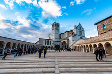 Square In Front Of The Basilica Of Saint Francis Of Assisi, Assisi, Umbria