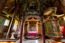 Interior Of Kaupanger Stave Church, Kaupanger, Vestland