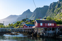 Typical Red Houses In The Village Of A, Lofoten, Nordland