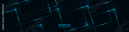 Black technology abstract wide banner with blue luminous lines and highlights. Futuristic dark blue tech horizontal wide background.
