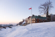 The Famous Dufferin Terrace In The Old Town Seen With A Fresh Coat Of Snow During An Early Winter Morning, Quebec City, Quebec, Canada