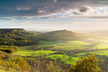 Dramatic Weather And Skies Over The Vale Of York From Sutton Bank, The North Yorkshire Moors, Yorkshire