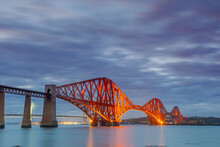 Forth Railway Bridge At Dusk, River Forth, Firth Of Forth, Edinburgh