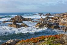 Powerful Pacific Ocean Waves Battering Rocky Coastline Of The Monterey Peninsula, Pacific Grove, Monterey, California
