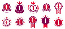 First Place Number One Business Success And Triumph Vector Labels Set Isolated Over White, Graphic Design Elements, Geometric Vintage Classic Emblems Collection, Simplistic Old Style Icons.