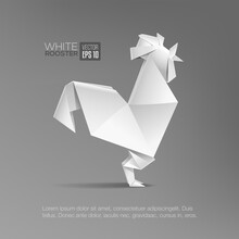 Geometric Origami Paper White Rooster Isolated Vector Illustration. Realistic Triangular Style Rooster Icon. Template For Cover Banner Poster Design. Isolated Vector Illustration For Card Or Icon