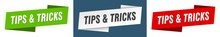 Tips & Tricks Banner. Tips & Tricks Ribbon Label Sign Set
