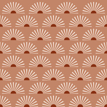 Abstract Vector Seamless Pattern With Mid-century Minimalist Design: Terracotta Suns With Light Rays. Sunrise Or A Sunset On A Beige Background