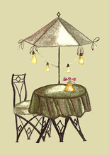 A Table With An Umbrella In A Cafe, Painted In Khaki Colors. Summer Outdoor Cafe, Coffeehouse Or Restaurant With Table, Chair, Umbrella On City Street. Watercolor Illustration Filtered  In Photoshop.