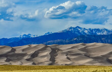 Great Sand Dunes With Mountains In The Background, Colorado, US
