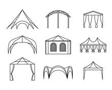 Vector Set Of Event Tent Illustrations. Line Art.