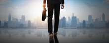 Forward To Success, Back Of Confident Businessman Holding Business Document Bag Walk To Achievement, Future Professional Man Leader Move And Step  To Freedom Of City And Social