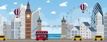 London City Scene With Many Landmarks