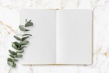 Boho Lifestyle - Offenes Notizbuch, Leere Seiten, Eukalytpus Zweig, Marmor Hintergrund - Minimalistisches , Modernes Konzept