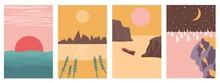 Four Landscapes Set In Boho Minimal Style Vector Illustration