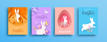 Happy Easter Paper Cut Rabbit Egg Spring Card Set