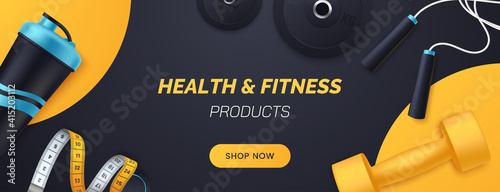 Fototapeta Sports and fitness products banner design. Flat lay composition with dumbbells, barbell plates, shaker, skipping rope, measuring tape. Advertisement concept for sports store. Vector illustration. obraz